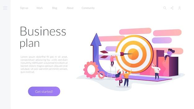 Modelo de página de destino do plano de negócios