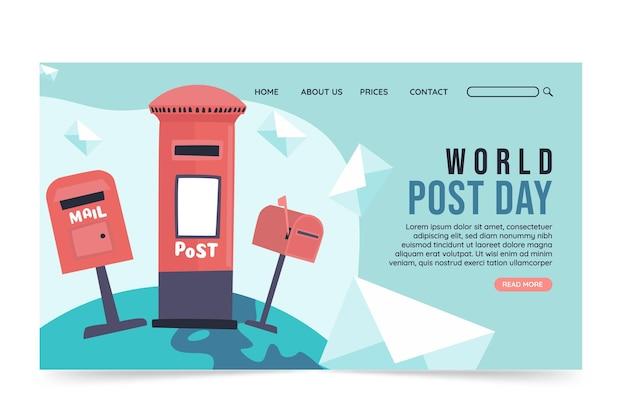 Modelo de página de destino do pós-dia do mundo plano desenhado à mão