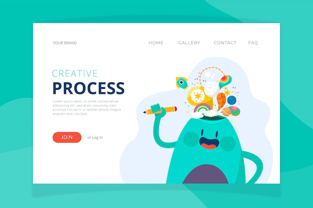 Modelo de página de destino do processo criativo