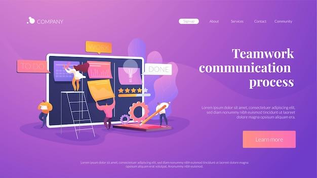 Modelo de página de destino do processo de comunicação de trabalho em equipe