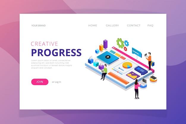 Modelo de página de destino do progresso da peça criativa