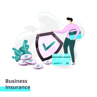 Modelo de página de destino do seguro comercial. ilustração
