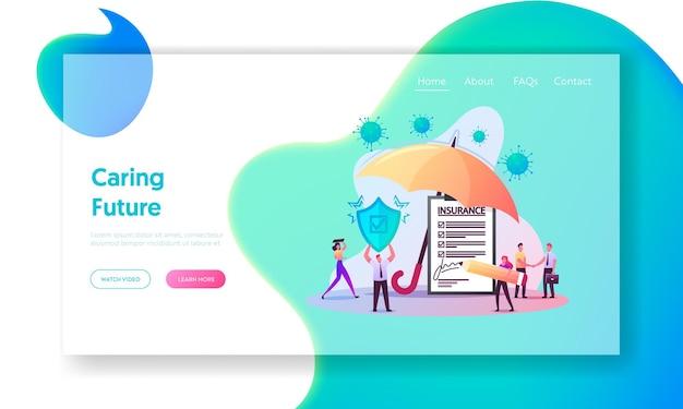 Modelo de página de destino do seguro de coronavirus. personagens minúsculos assinando política de saúde sob enorme guarda-chuva