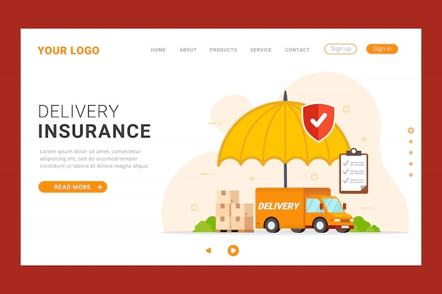 Modelo de página de destino do seguro de entrega