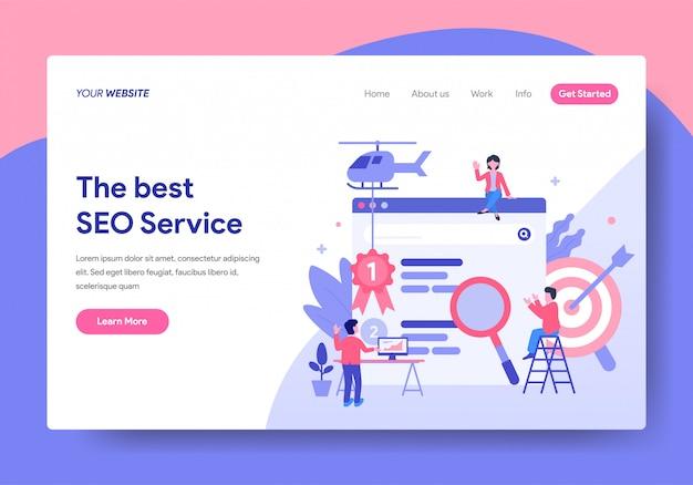 Modelo de página de destino do seo service design