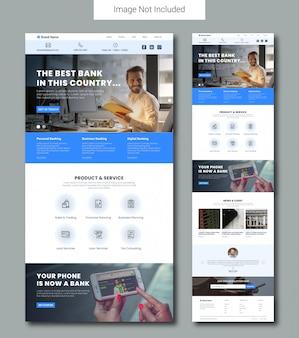 Modelo de página de destino do serviço bancário