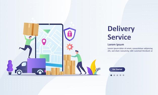 Modelo de página de destino do serviço de entrega on-line