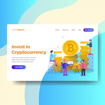 Modelo de página de destino do serviço de investimento cryptocurrency