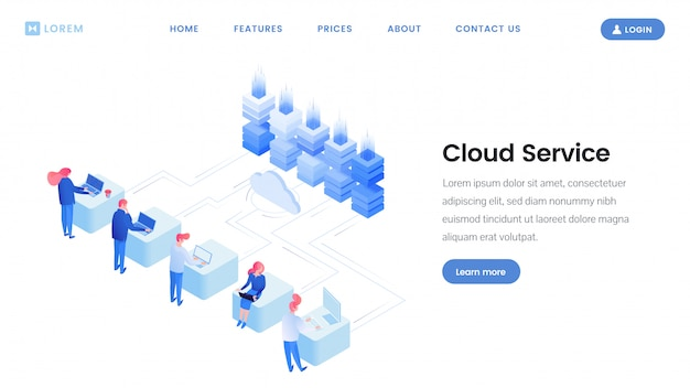 Modelo de página de destino do serviço de nuvem