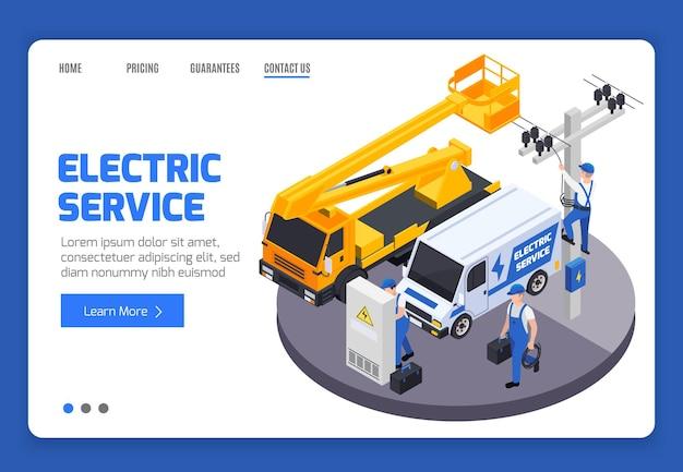 Modelo de página de destino do serviço electrici