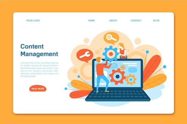 Modelo de página de destino do sistema de gerenciamento de conteúdo
