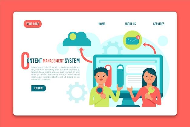 Modelo de página de destino do sistema de gerenciamento de conteúdo Vetor grátis