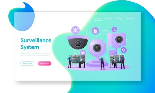 Modelo de página de destino do sistema de vigilância de monitoramento de caracteres de segurança