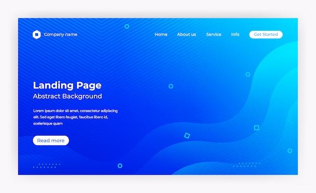 Modelo de página de destino do site azul