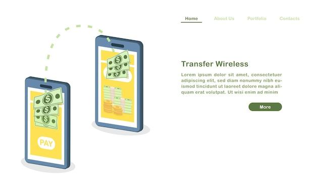 Modelo de página de destino do site cartoon transferência de dinheiro sem fio com telefones celulares