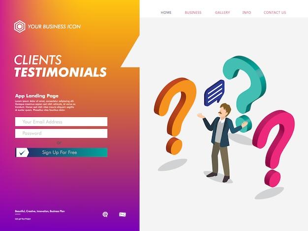Modelo de página de destino do site de depoimentos de clientes