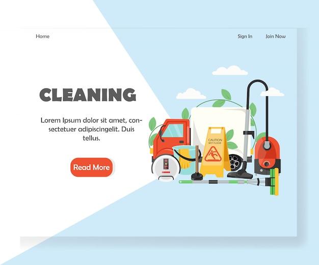Modelo de página de destino do site de limpeza