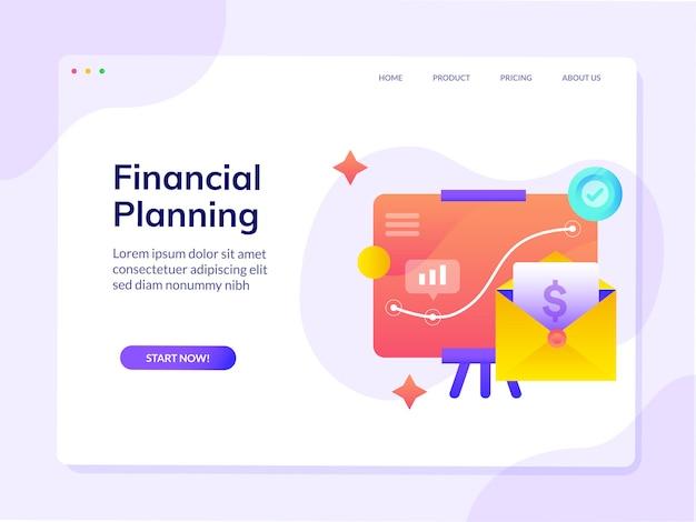 Modelo de página de destino do site de planejamento financeiro