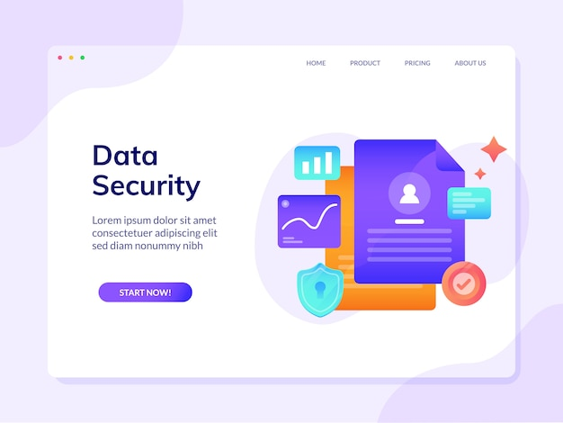 Modelo de página de destino do site de segurança de dados