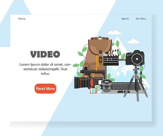 Modelo de página de destino do site de videografia