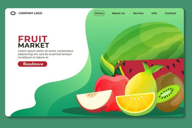 Modelo de página de destino do site do mercado de frutas para sites ou aplicativos design moderno