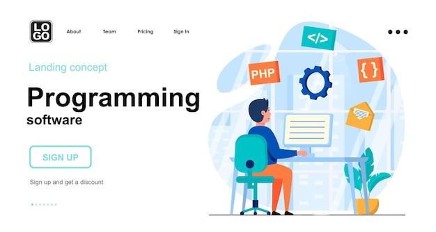 Modelo de página de destino do software de programação