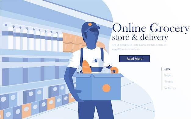 Modelo de página de destino do supermercado online. jovem carregando uma caixa de supermercado. de página da web para site e site para celular. ilustração