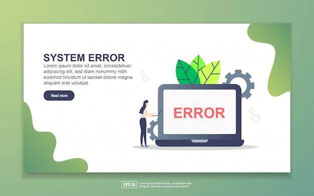 Modelo de página de destino do system erro