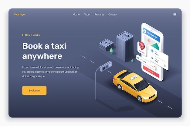 Modelo de página de destino do telefone isométrico com carro táxi amarelo
