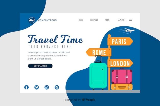Modelo de página de destino do tempo de viagem