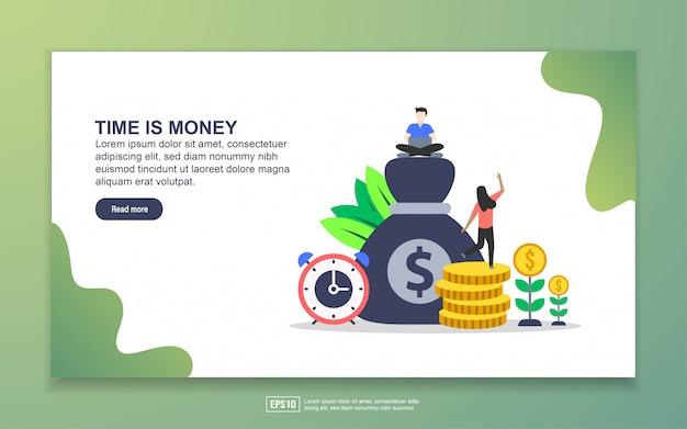 Modelo de página de destino do tempo é dinheiro