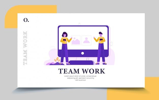 Modelo de página de destino do trabalho em equipe