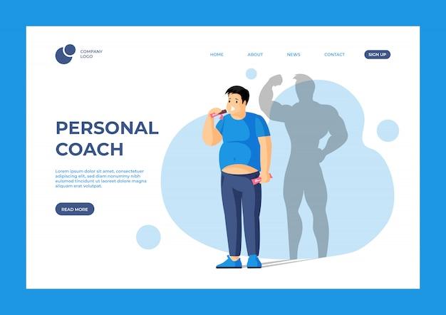 Modelo de página de destino do treinador pessoal. ame seu corpo, sonhos se tornam realidade conceito de página da web com tipografia.