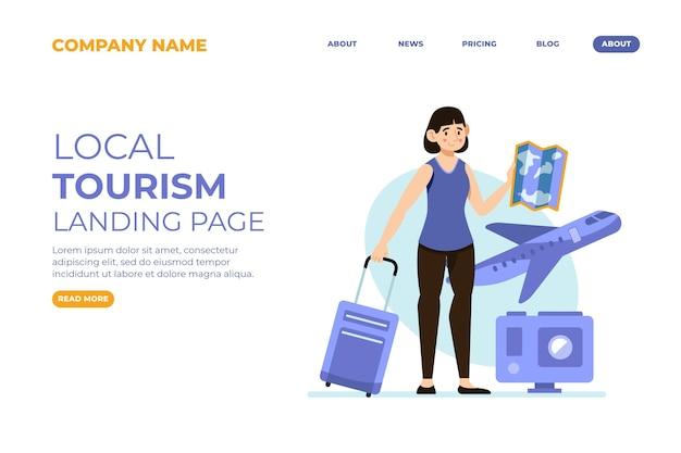 Modelo de página de destino do turismo local