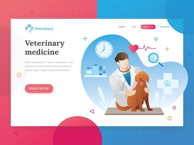 Modelo de página de destino do veterinário