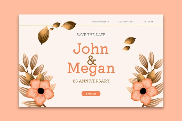 Modelo de página de destino do vigésimo quinto aniversário de casamento