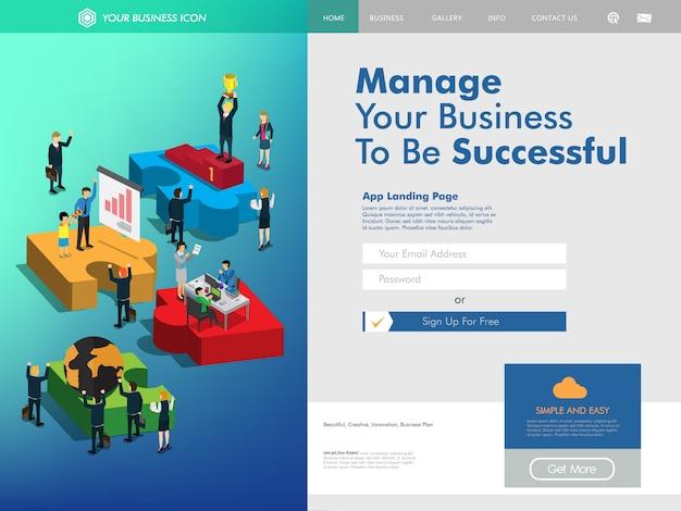 Modelo de página de destino do website de gerenciamento de negócios