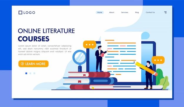 Modelo de página de destino dos cursos de literatura on-line