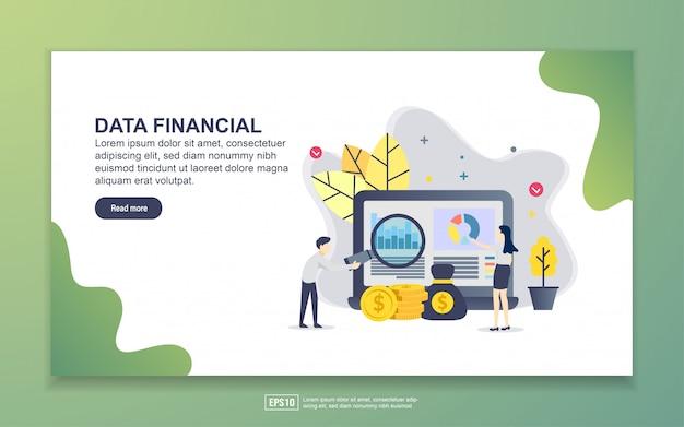Modelo de página de destino dos dados financeiros