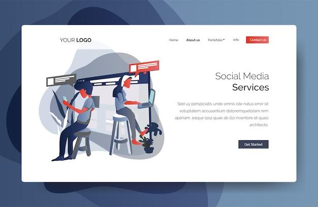 Modelo de página de destino dos serviços de mídia social