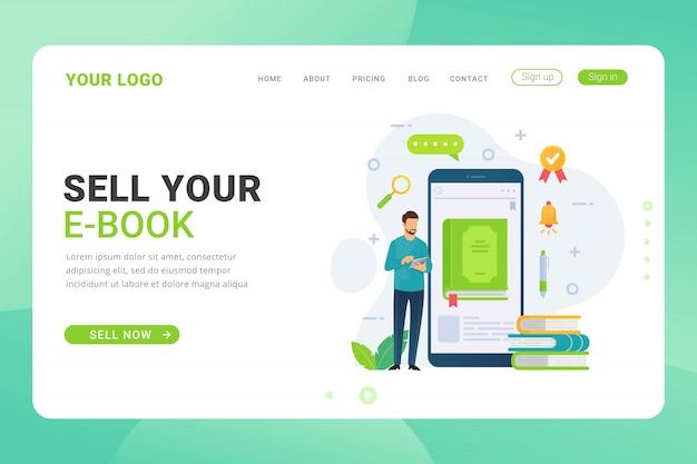 Modelo de página de destino ebook loja design com ilustração