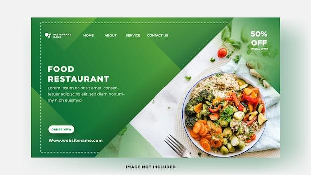 Modelo de página de destino elegante restaurante de comida com design verde fresco