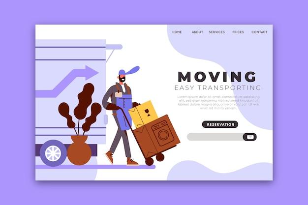 Modelo de página de destino em movimento