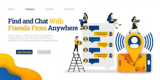 Modelo de página de destino. encontre e converse com amigos em qualquer lugar. encontre e comunique-se com amigos de todo o mundo