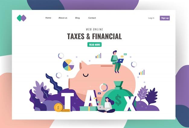 Modelo de página de destino fiscal e financeiro.