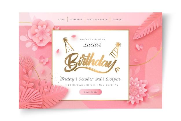 Modelo de página de destino floral de aniversário