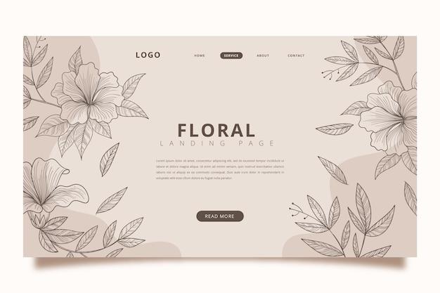 Modelo de página de destino floral desenhado à mão