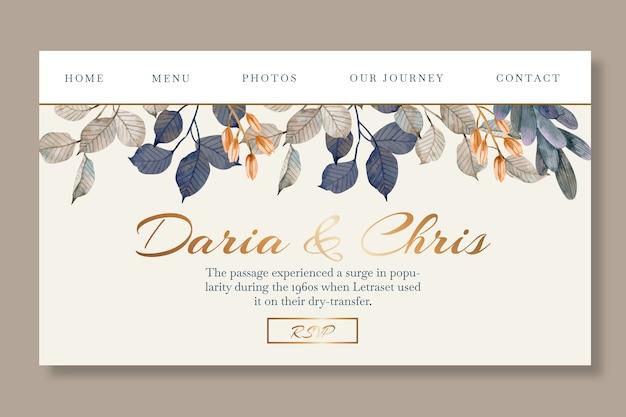 Modelo de página de destino floral para casamento com folhas