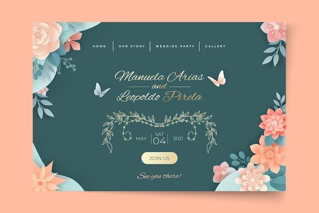 Modelo de página de destino floral para casamento