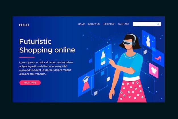 Modelo de página de destino futurista de compras on-line